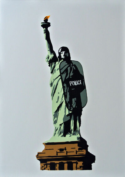 "Plastic Jesus, '""Liberty"" – Acrylic Stencil on Canvas', 2018"