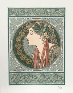 Alphonse Mucha, 'Lady in Green', 1901