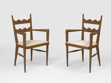 Jean Royère, 'Pair of Ondulation bridge armchairs', ca. 1950