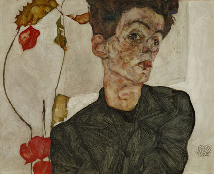 Egon Schiele, 'Self-portrait with Chinese Lantern and Fruits', 1912