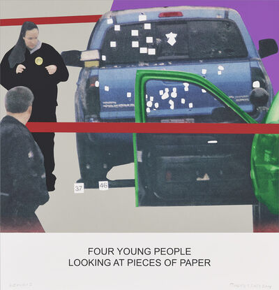 John Baldessari, 'The News: Four Young People Looking at Pieces of Paper', 2014