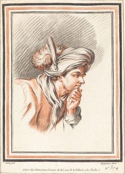 Atelier of Gilles Demarteau the Elder after Carle Van Loo, 'Head of a Man Wearing a Plumed Turban', 1772