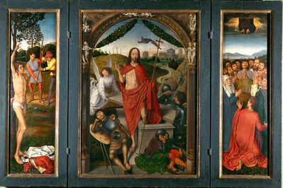 Hans Memling, 'Triptych of the Resurrection with Saint Sebastian (left wing) and Ascension of Christ (right wing)', ca. 1485-1490