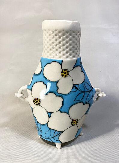 Jerry Bennett, 'Blue and White Floral Flower Vase', 2020