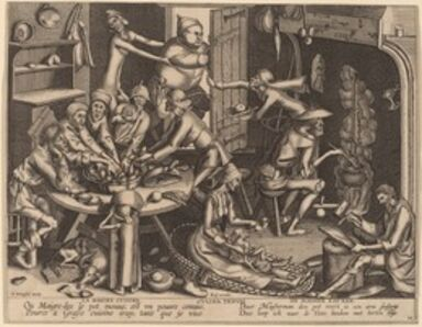 Joan Galle after Pieter Bruegel the Elder, 'The Thin Kitchen', in or after 1563