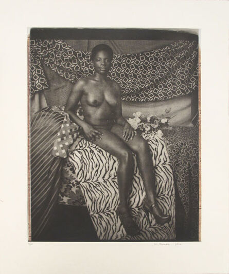 Mickalene Thomas, ' Portrait of Marie Sitting in Black and White', 2012