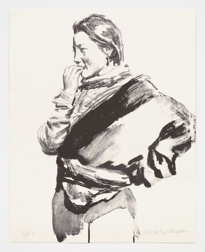 Chen Yifei, 'Thoughtful Tibetan Girl', 1997