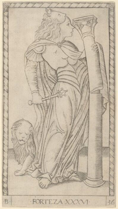 Master of the E-Series Tarocchi, 'Forteza (Fortitude)', ca. 1465
