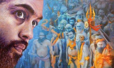 """Viveek Sharma, 'Mystic Journey for the Royal Bath, Oil on Linen by Contemporary Artist """"In Stock""""', 2016"""