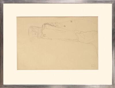 Gustav Klimt, 'Liegender, weiblicher Halbakt. Lying, Half Nude Female.', 1919