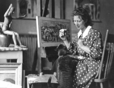 Doris Lee, 'Doris Lee in studio feeding cat portrait', ca. 1935