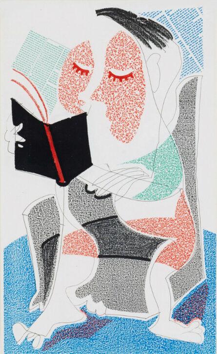 David Hockney, 'Man Reading Stendahl, July 1986', 1986