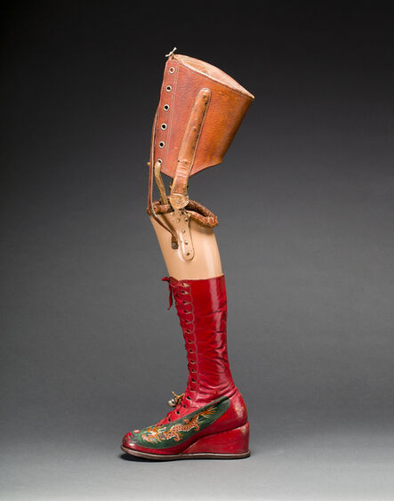 Unknown, 'Prosthetic leg with leather boot'