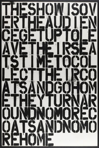 Christopher Wool, 'The show is over', 2013