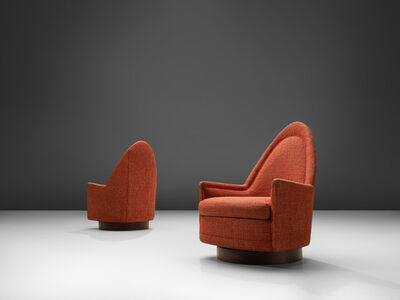 Milo Baughman, 'Pair of Swivel Chairs in Orange Fabric', 1960s