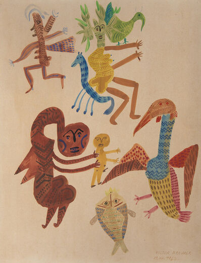 Victor Brauner, 'Personnages, oiseaux, poissons', 1962