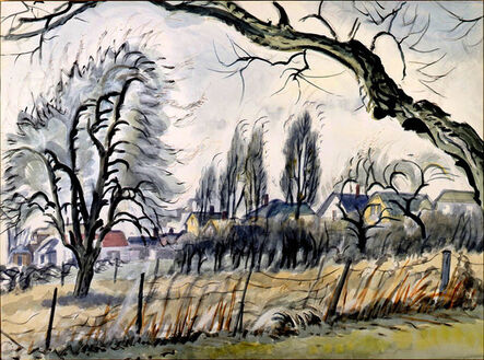 Charles Ephraim Burchfield, 'Windswept Trees and Houses', 1949