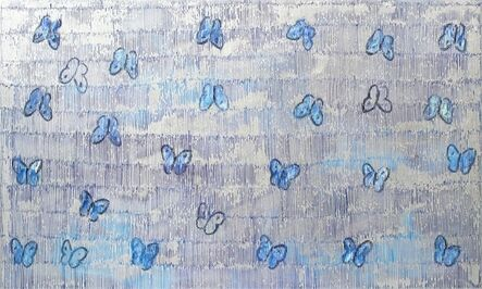 Hunt Slonem, 'Butterflies on silver and blue', 2020