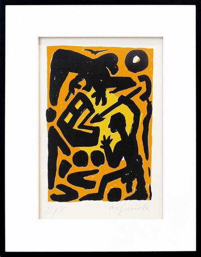 """A.R. Penck, '""""Kampf gegen das System"""" gelb-orange', 1990"""