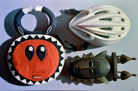 Alberto Magnani, 'Maschere africane con casco', 2018