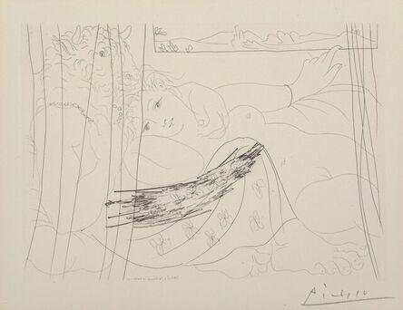 Pablo Picasso, 'Minotaure et Femme derrière un Rideau, Plate 91, from La Suite Vollard', 1933