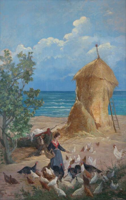 Giovanni Marchini, 'L'aia sul mare | The farmyard by the sea', 1940