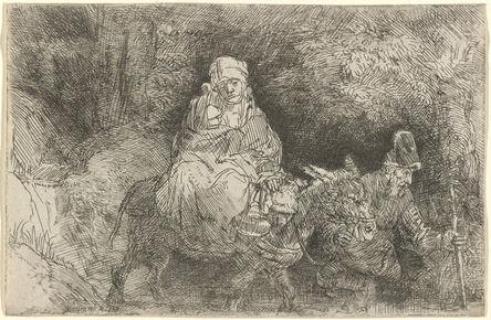 Rembrandt van Rijn, 'The Flight into Egypt: Crossing a Brook', 1654
