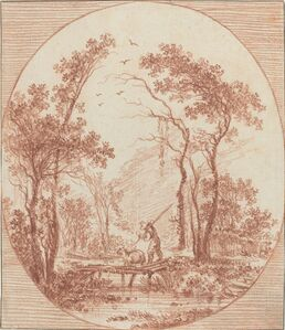 Jean-Baptiste Le Prince, 'A Farmer and a Sheep Crossing a Rustic Bridge'