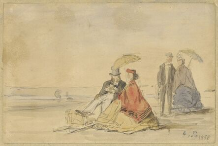 Eugène Boudin, 'A Couple Seated and a Couple Walking on the Beach', 1865