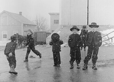 George Tice, 'Amish Children Playing In Snow, Lancaster, PA', 1969