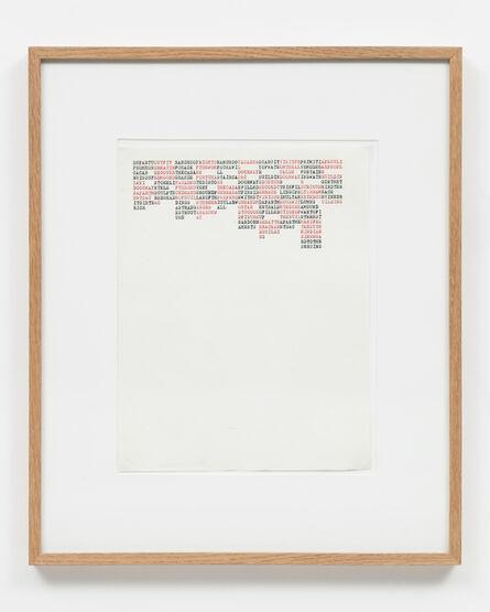 Carl Andre, 'DEPARTUOUTFIT RANCHOOFRIGHTORANCHOOCASAREASCARCITUISITFRPRIMITIAPECULI, YUCATAN', 1972