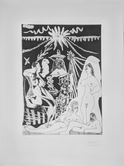 Pablo Picasso, 'HOMME ALLONGE, AVEC DEUX FEMMES, EVOQUANT LES RAPPORTS D'UN VIEUX CLOWN ET D'UNE JEUNE FILLE (BLOCH 1498)', 1968