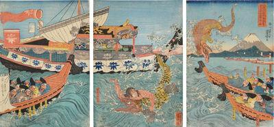 Utagawa Kuniyoshi, 'Asahina Fighting Two Crocodiles', ca. 1842