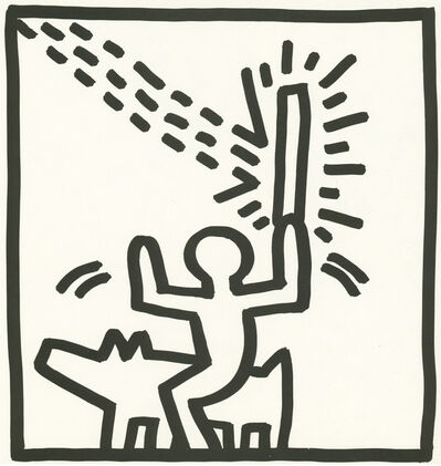 Keith Haring, 'Keith Haring (untitled) figurative lithograph 1982 (Keith Haring prints)', 1982