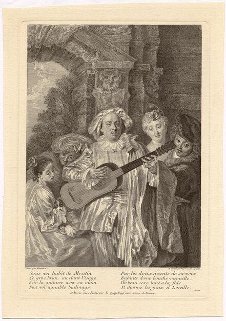 HENRY SIMON THOMASSIN, 'Sous un habit de Mezetin. After A. Watteau', ca. 1720