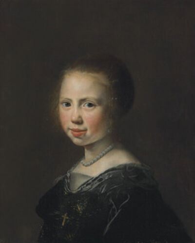 Jan de Bray, 'Portrait of a girl, bust-length, in a black dress and pearl necklace'