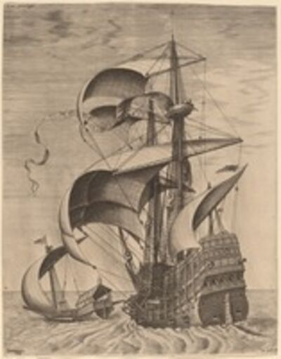 Frans Huys after Pieter Bruegel the Elder, 'Armed Three-Master on the Open Sea, Accompanied by a Galley'