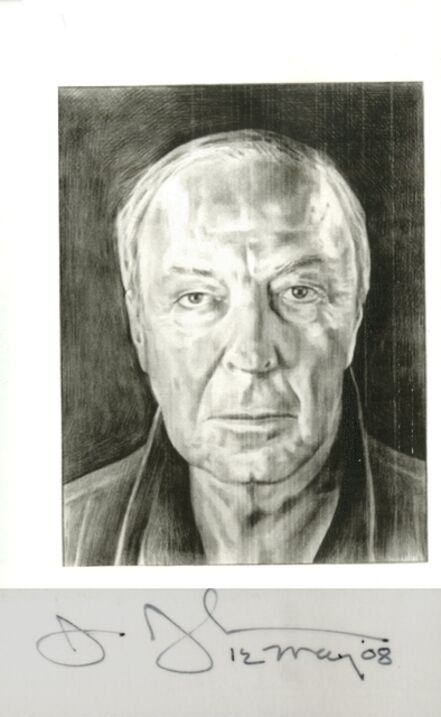 Jasper Johns, 'Card depicting portrait of the artist by Phong Bui (hand signed and dated by Jasper Johns)', 2008