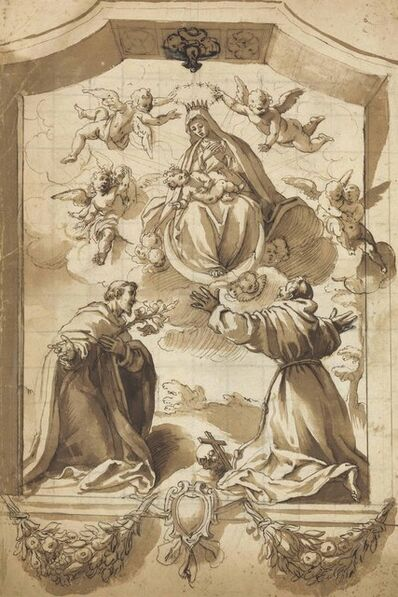 Circle of Jacopo Chimenti, called Jacopo da Empoli, 'The Coronation of the Virgin with Saints Francis and Anthony, inscribed in a cartouche with floral swags and an armorial device'