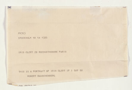 Robert Rauschenberg, 'This Is a Portrait of Iris Clert If I Say So', 1961