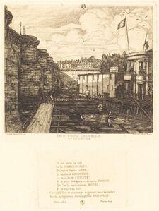 """Charles Meryon, 'Bain-froid chevrier, dit """"de l'École"""" (Chevrier's Cold-Bath Establishment, Sometimes called the """"School-Baths"""")', 1864"""