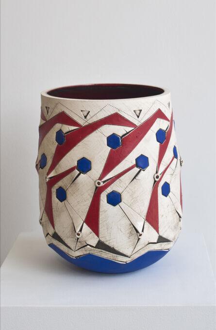 Andile Dyalvane, 'Scarified Red/Blue honeycomb vase', 2015