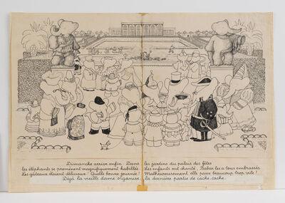 "Jean de Brunhoff, '""Gardens of the Amusement Park in Celesteville,"" illustration for Babar the King', 1936"