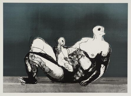 Henry Moore, 'Reclining Mother and Child with Blue Background (1982) (signed)', 1982