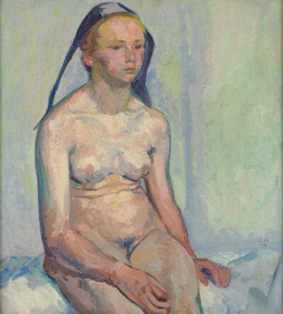 Cuno Amiet, 'Sitzender Mädchenakt', 1910