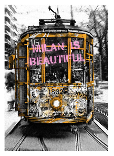Mr. Brainwash, 'Milan is Beautiful - Tram Pink', 2019