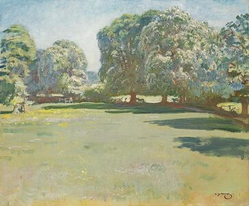 Alfred James Munnings, 'Chestnuts in bloom at Castle House, Dedham ', ca. 1920s