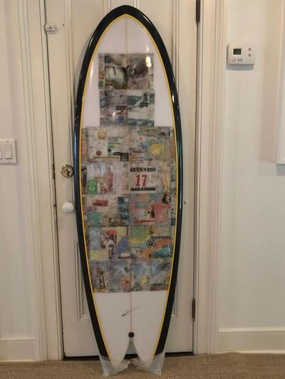 Tony Caramanico, 'Surfboard by Nature Shapes (Mike Becker) with various pages from surf journals', 2019
