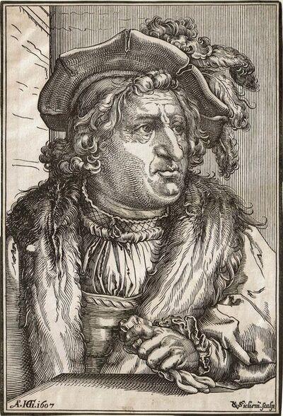 Christoffel van Sichem I, 'Man with Plumend Cap (after HENDRICK GOLTZIUS)', ca. 1607