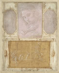 """Giorgio Vasari with drawings by Filippino Lippi, Botticelli, and Raffaellino del Garbo, 'Page from """"Libro de' Disegni""""', Sheets probably 1480-1504; mounting & framework by Vasari after 1524."""